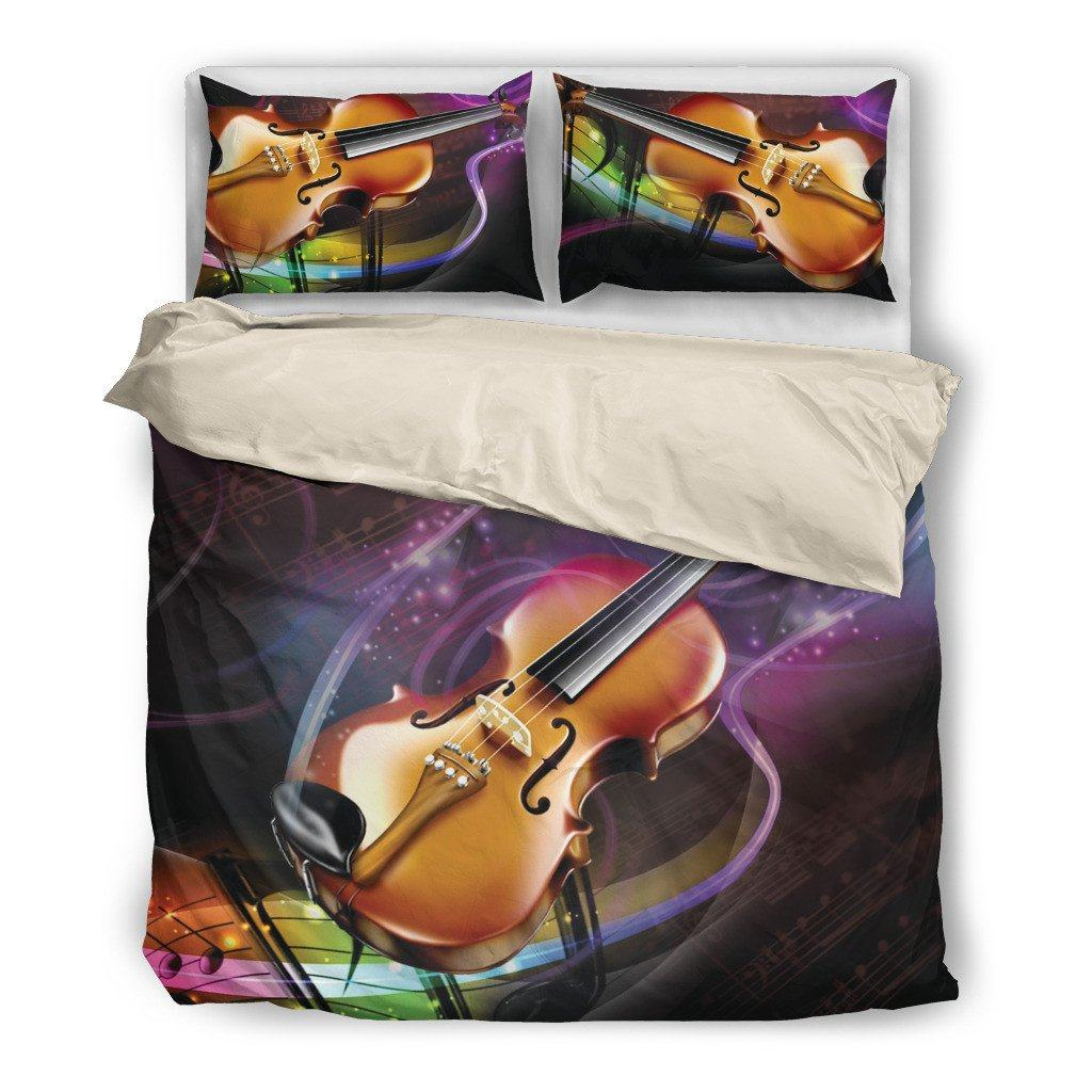 Onlinepresales Violin Music Design Bedding Set Hypoallergenic Duvet Cover  Microfiber Twin/Queen/ King Size Bed Sheet with 2 Pillow Covers