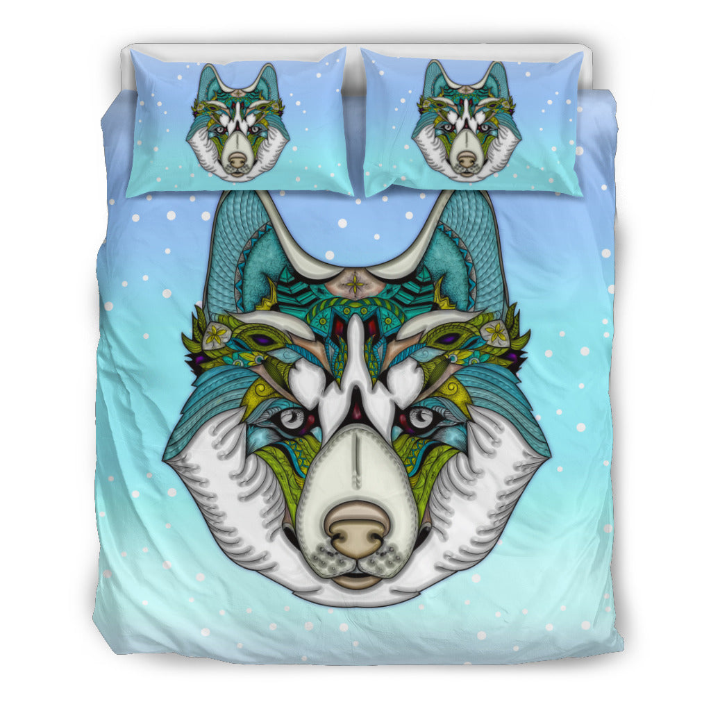 Friendly Husky Themed Bedding Sets (Includes Duvet Cover, Twin/Queen/King Size Bed Sheet & 2 Pillow Covers)