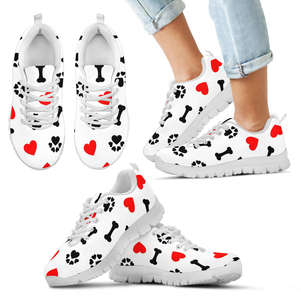 Kid's Dog Love White Sole Print Sneakers