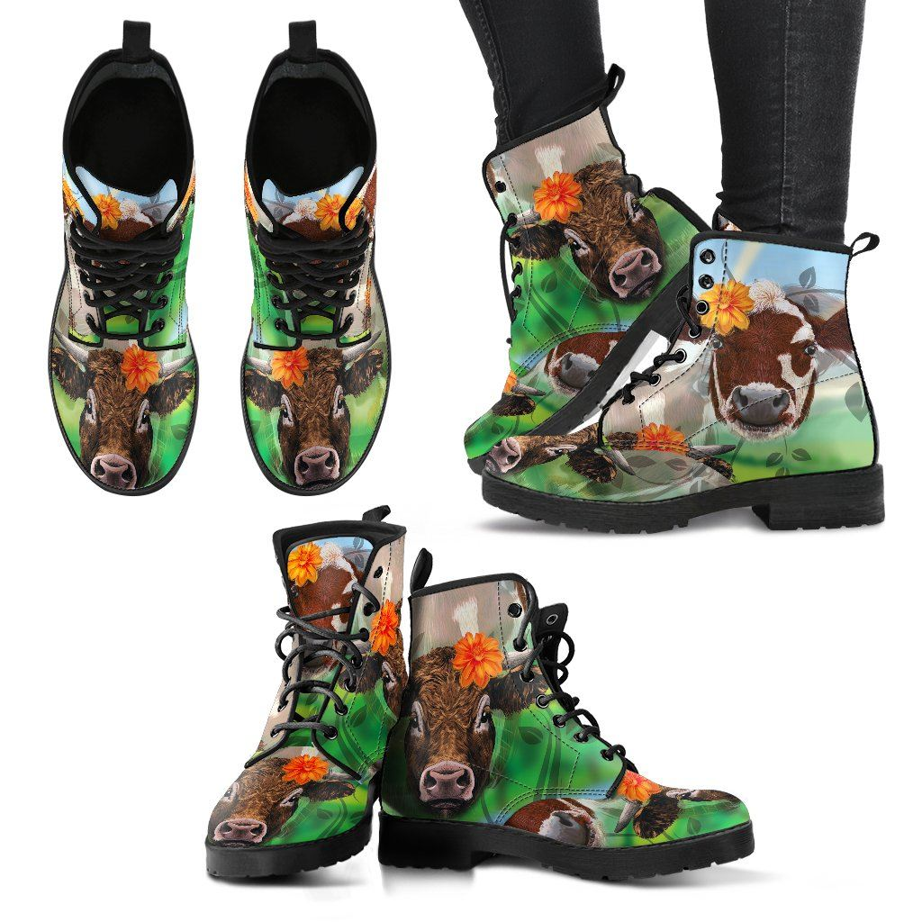 Cow Lover 5 Print Faux Leather Boots