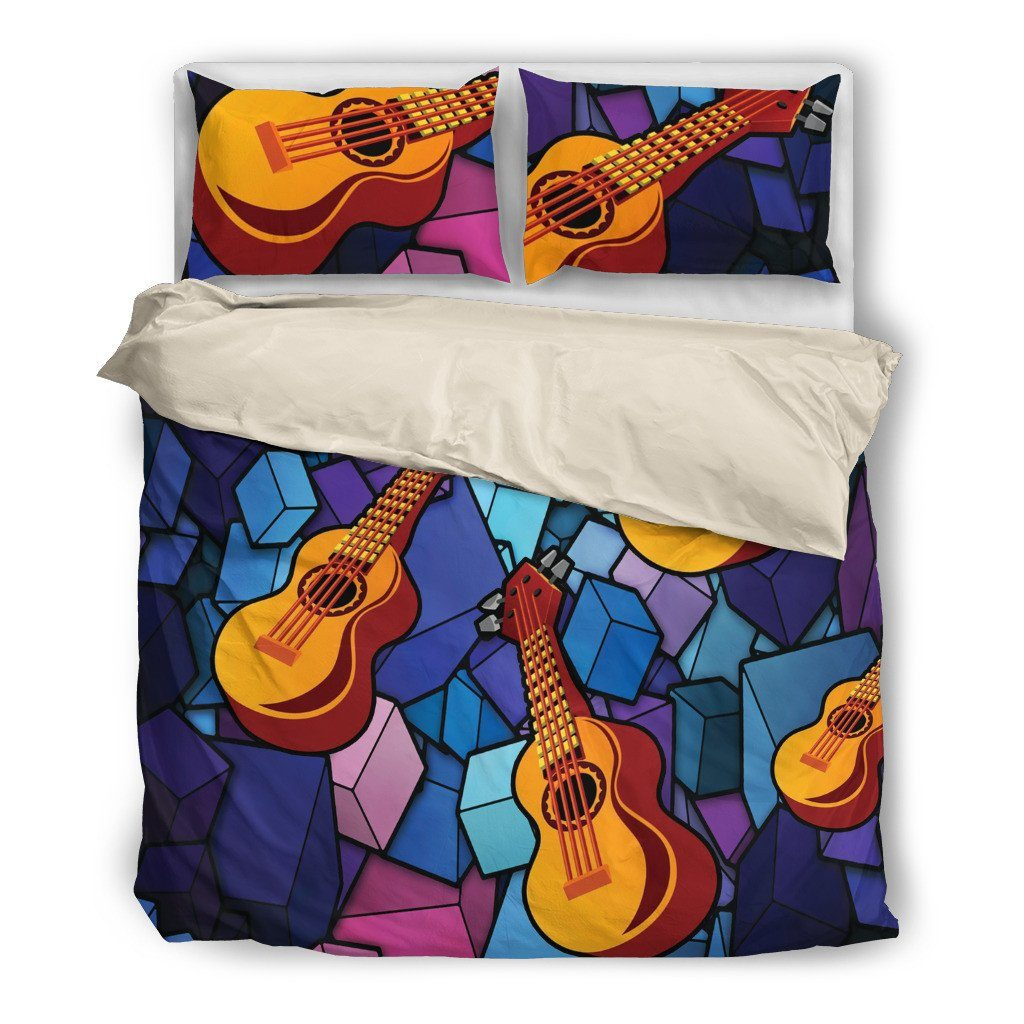 Onlinepresales Ukelele 2 Music Design Bedding Set Hypoallergenic Duvet Cover  Microfiber Twin/Queen/ King Size Bed Sheet with 2 Pillow Covers