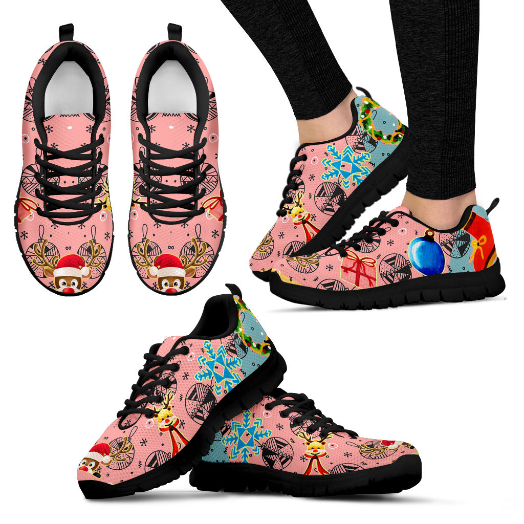 Pink Christmas Black Sneakers Available in Women's Sizes