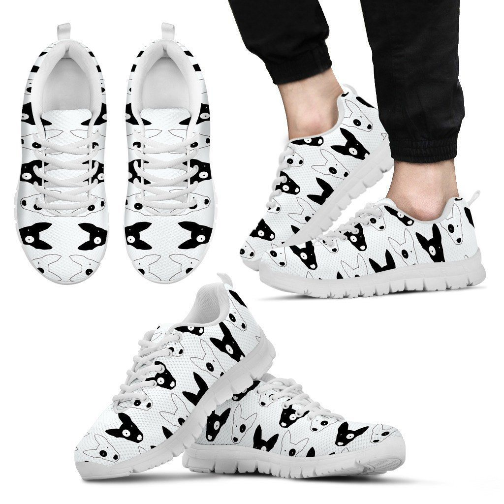 Bull Terrier White Sole Print Sneakers Available in Men's, and Women's  Sizes