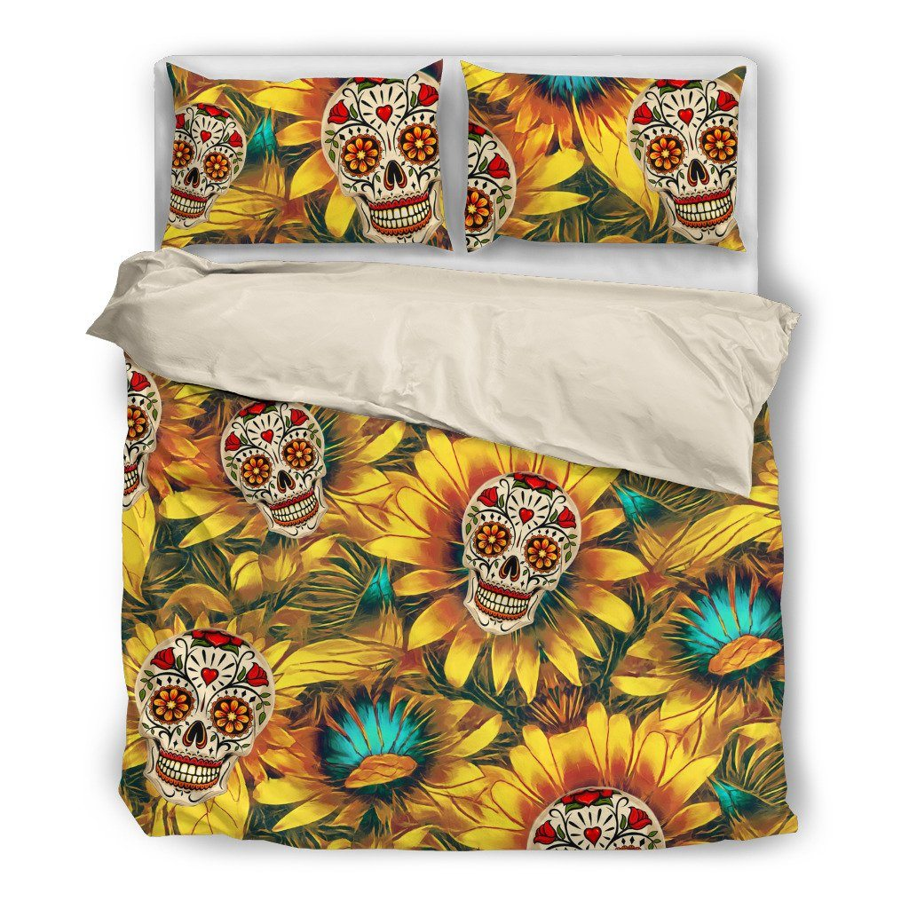 Sunflower Skull Themed Bedding Sets (Includes Duvet Cover, Twin/Queen/King Size Bed Sheet & 2 Pillow Covers)