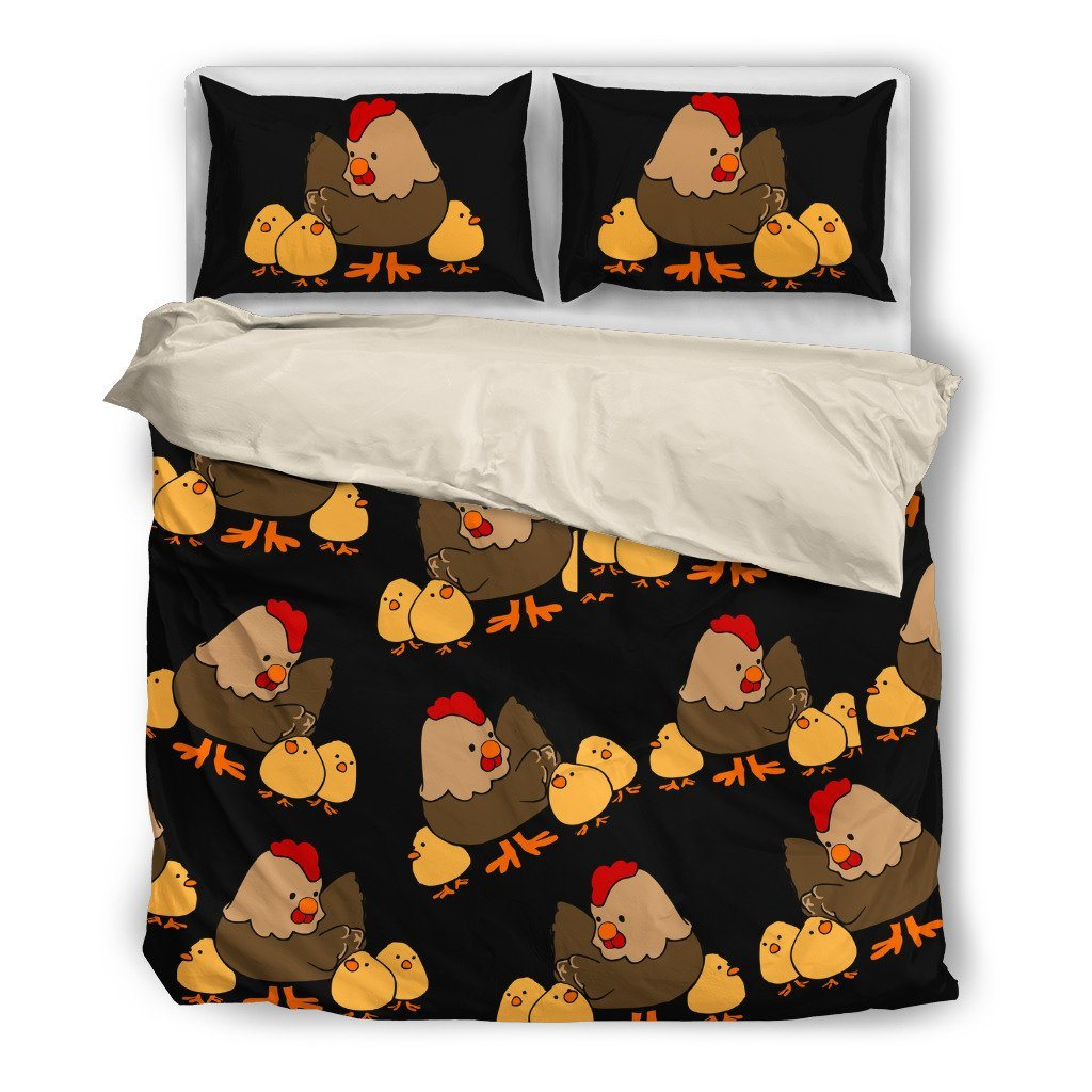 Chicken 2 Farm Themed Bedding Sets (Includes Duvet Cover, Twin/Queen/King Size Bed Sheet & 2 Pillow Covers)