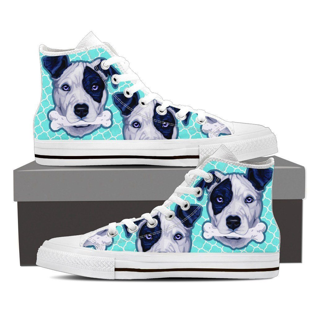 Pitbull Bone Print High Tops Shoes Available in Men's and Women's Sizes
