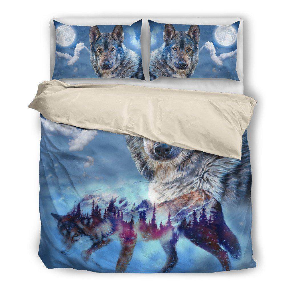 Night Wolf Themed Bedding Sets (Includes Duvet Cover, Twin/Queen/King Size Bed Sheet & 2 Pillow Covers)
