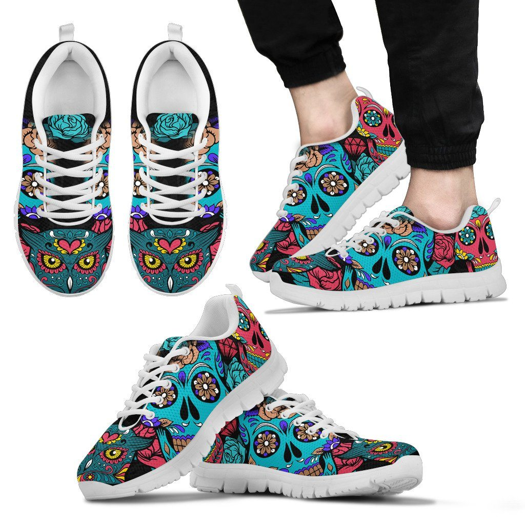 Skull Owl Print Sneakers Available in Men's, Women's, and Kid's Sizes