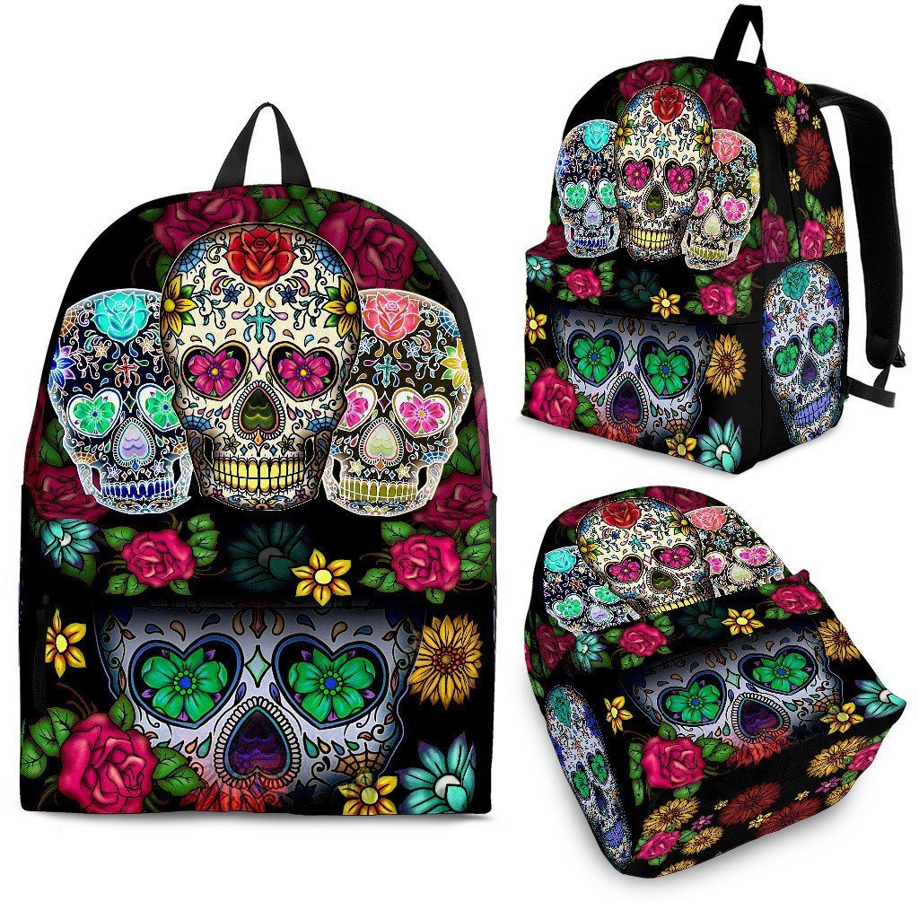 Sugar Skull Black Backpack