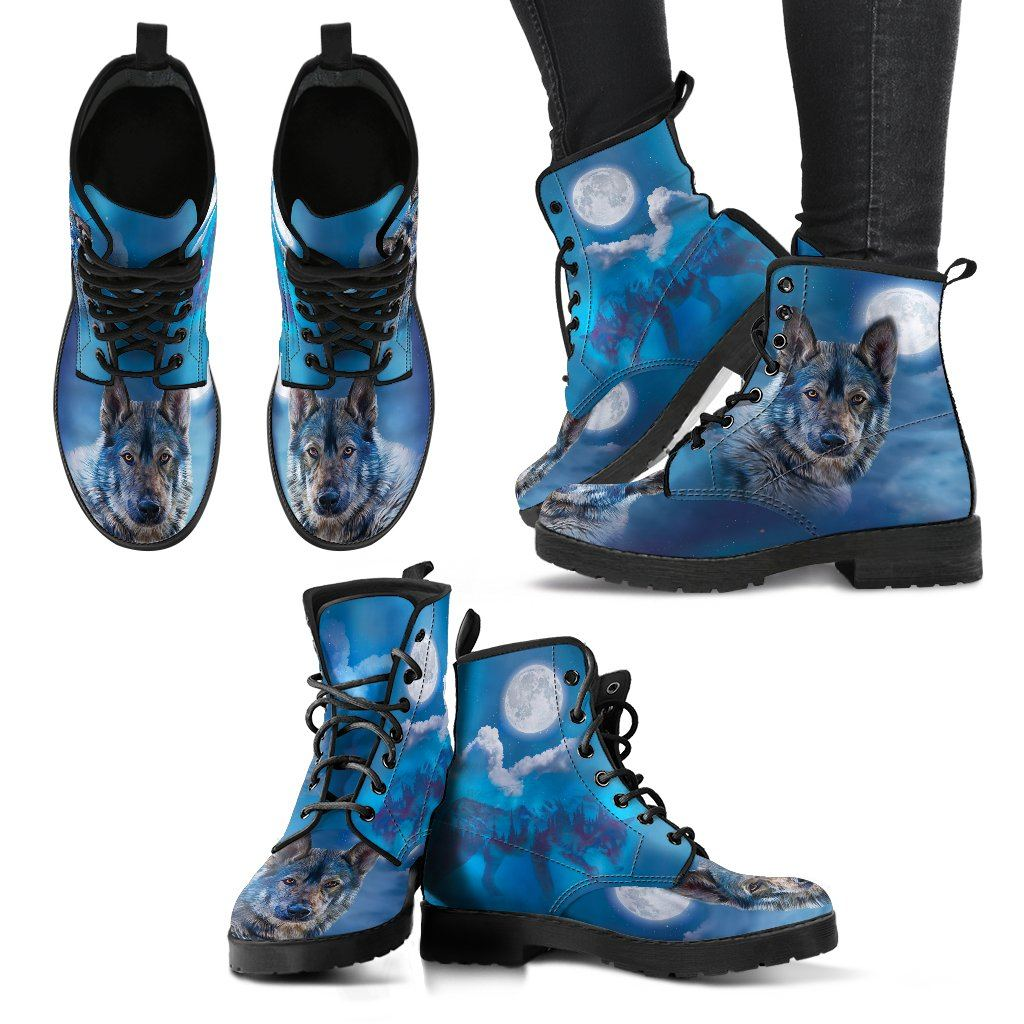 Night Wolf Print Faux Leather Boots