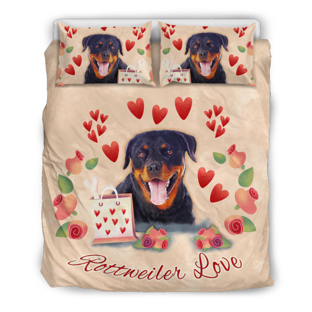 Rottweiler Love Themed Bedding Sets (Includes Duvet Cover, Twin/Queen/King Size Bed Sheet & 2 Pillow Covers)