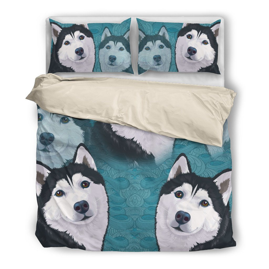 Blue Husky Dog Themed Bedding Sets (Includes Duvet Cover, Twin/Queen/King Size Bed Sheet & 2 Pillow Covers)