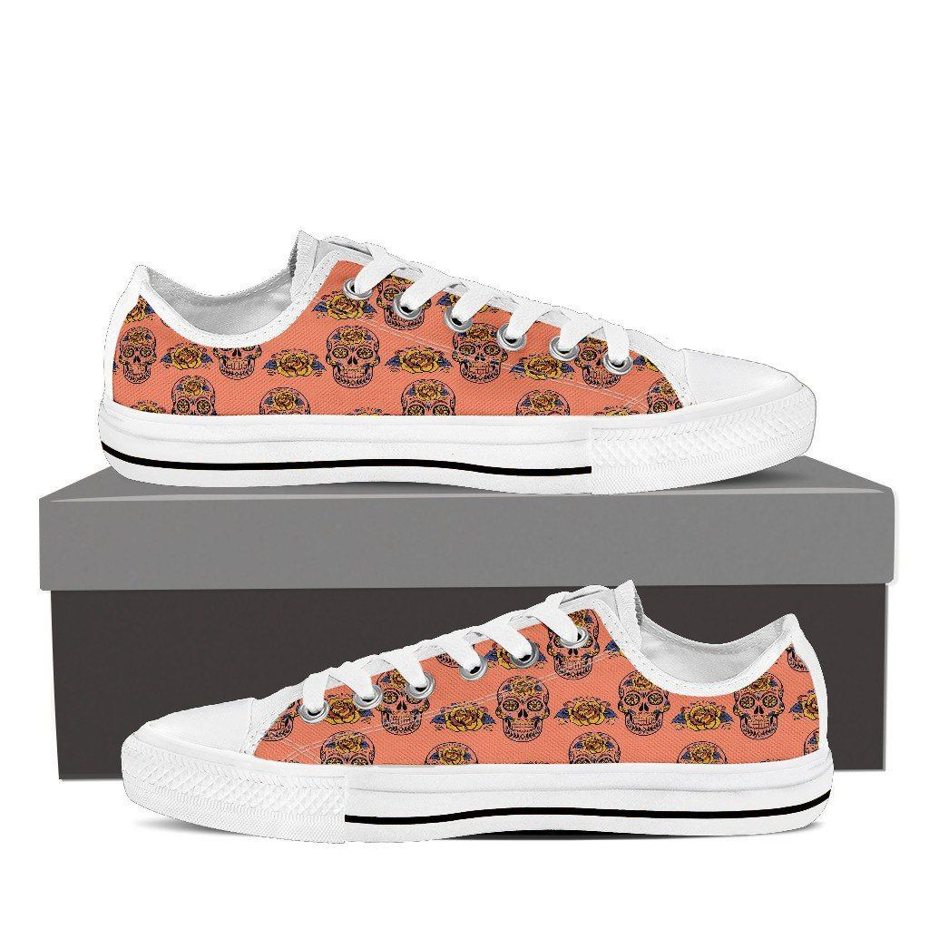 Calavera Skull Print Low Tops Shoes Available in Men's and Women's Sizes
