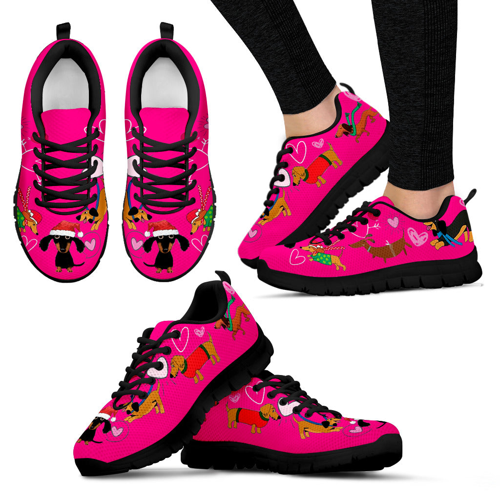 Dogs Christmas Pink Sneakers Available in Women's Sizes