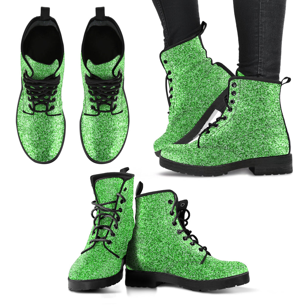 Metallic Effect in Mint - Leather Boots for Women