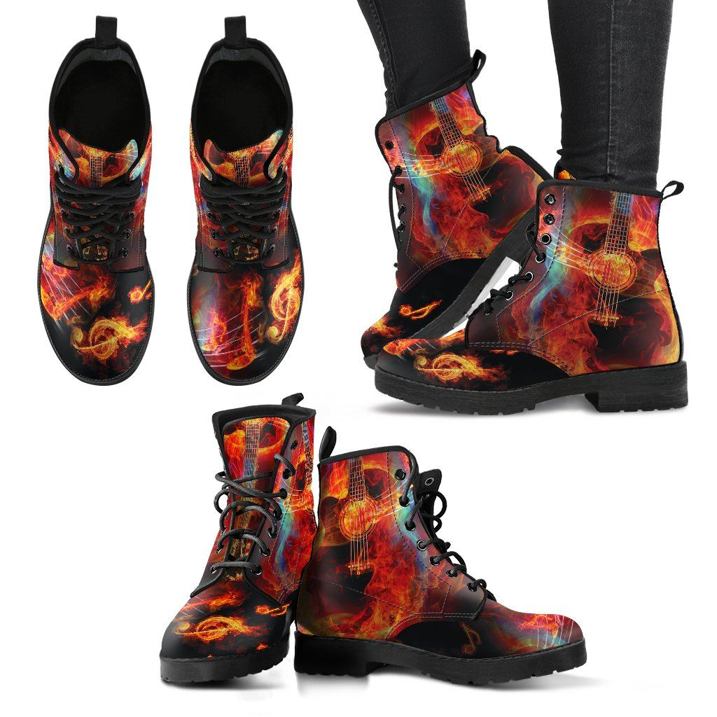 Guitar Lover Print Faux Leather Boots