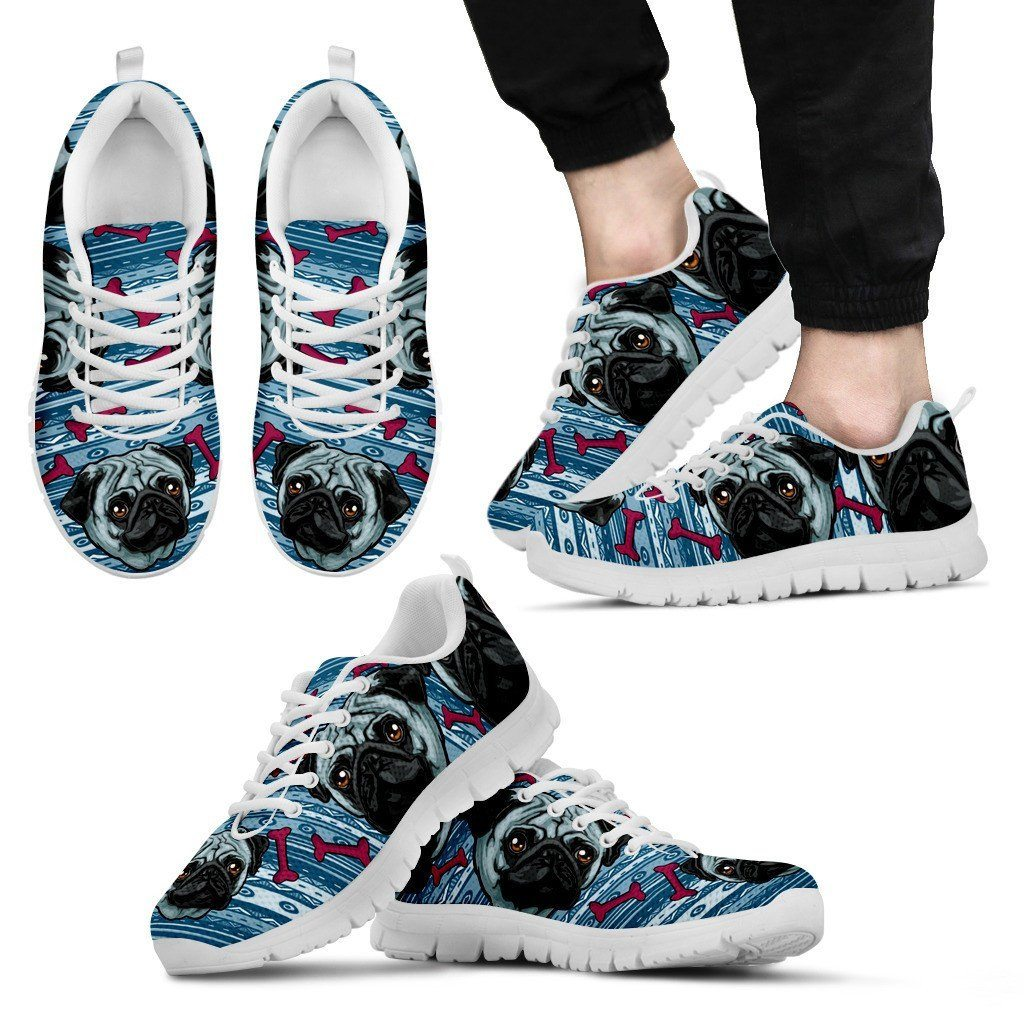 Happy Pug Print Sneakers Available in Men's, Women's, and Kid's Sizes