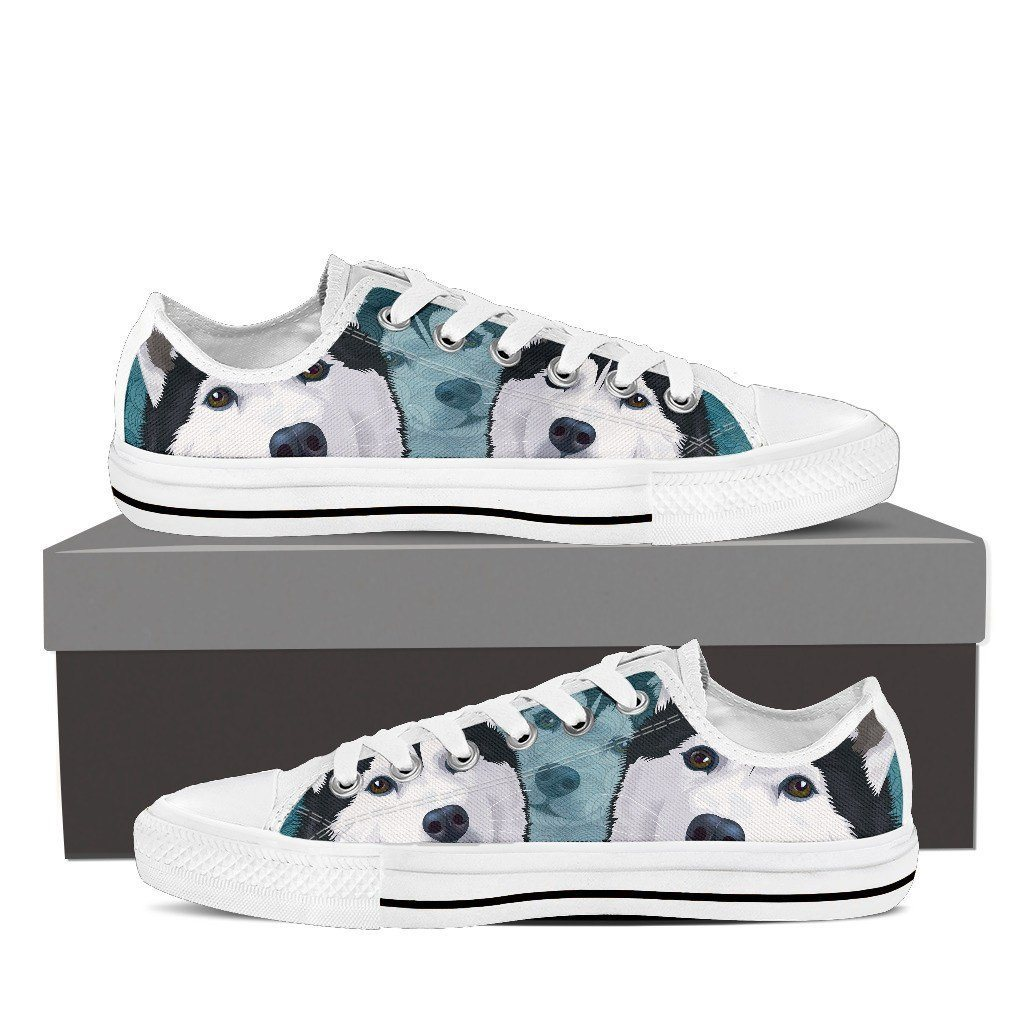 Blue Husky Print Low Tops Shoes Available in Men's and Women's Sizes