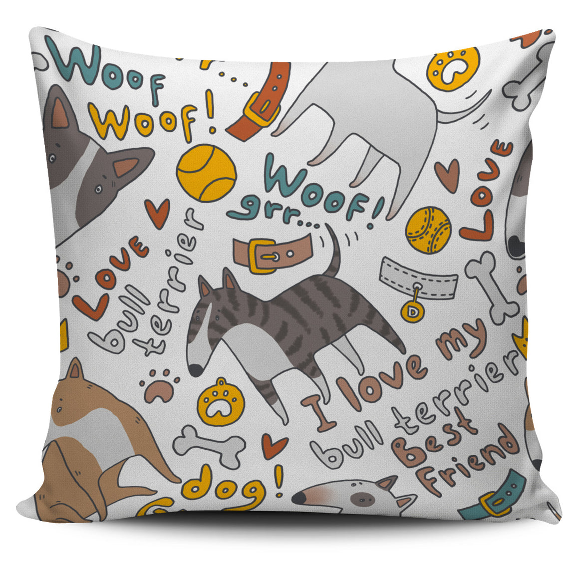 I Love My Bull Terrier Themed Pillow Cover
