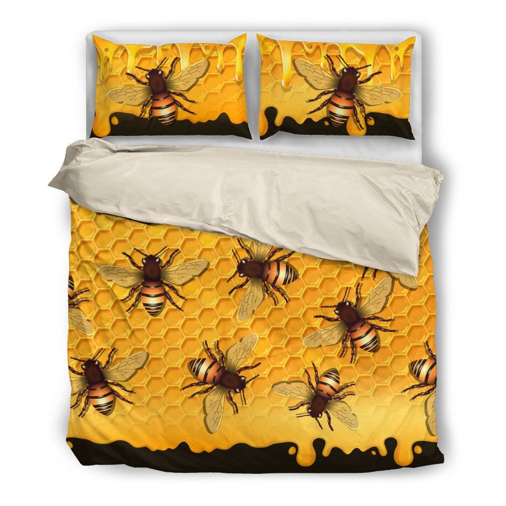 Bee 5 Themed Bedding Sets (Includes Duvet Cover, Twin/Queen/King Size Bed Sheet & 2 Pillow Covers)