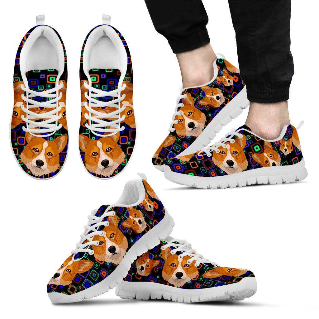 Welsh Corgi Print Sneakers Available in Men's, Women's, and Kid's Sizes