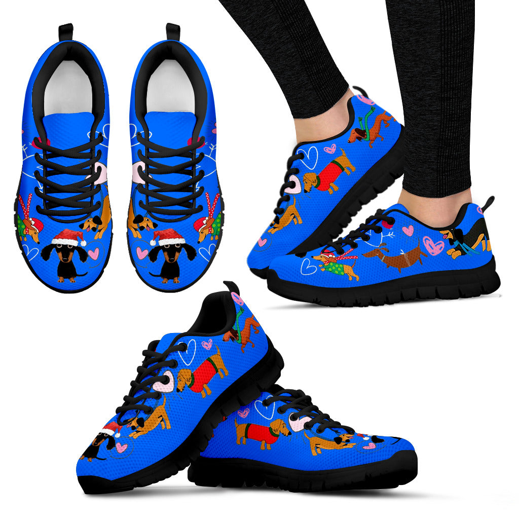 Dachshund Christmas Sneakers Available in Women's Sizes