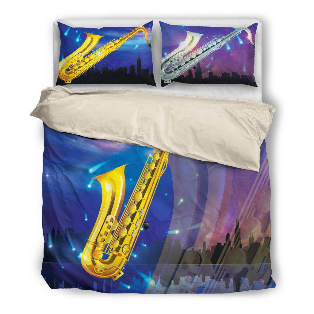 Onlinepresales Saxophone Music Design Bedding Set Hypoallergenic Duvet Cover  Microfiber Twin/Queen/ King Size Bed Sheet with 2 Pillow Covers