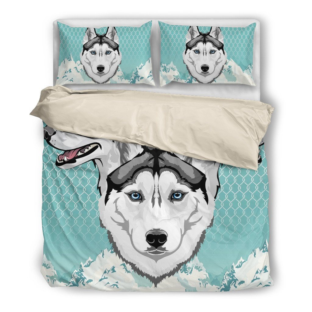 Husky Lover 4 Dog Themed Bedding Sets (Includes Duvet Cover, Twin/Queen/King Size Bed Sheet & 2 Pillow Covers)