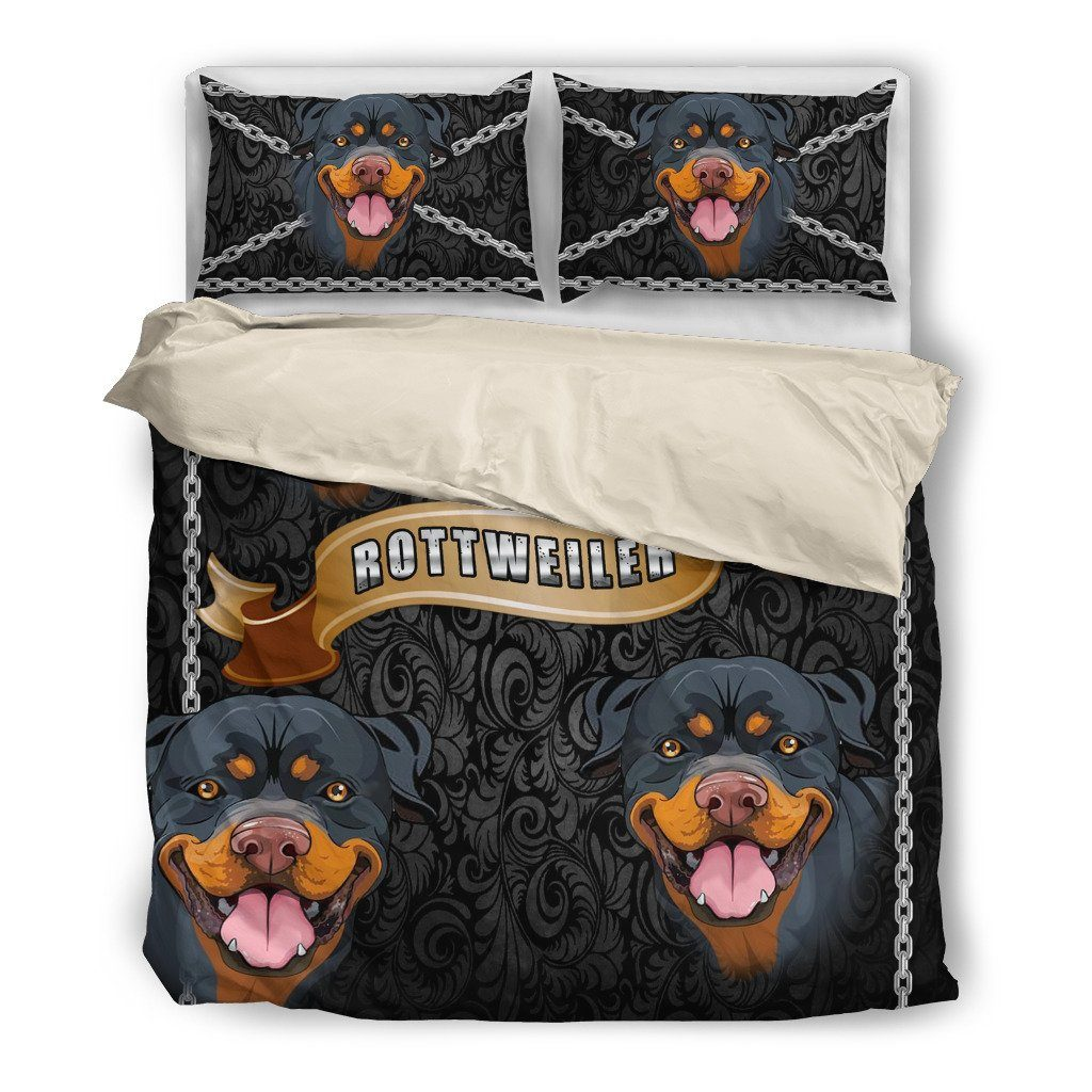 Rottweiler Lover 2 Dog Themed Bedding Sets (Includes Duvet Cover, Twin/Queen/King Size Bed Sheet & 2 Pillow Covers)