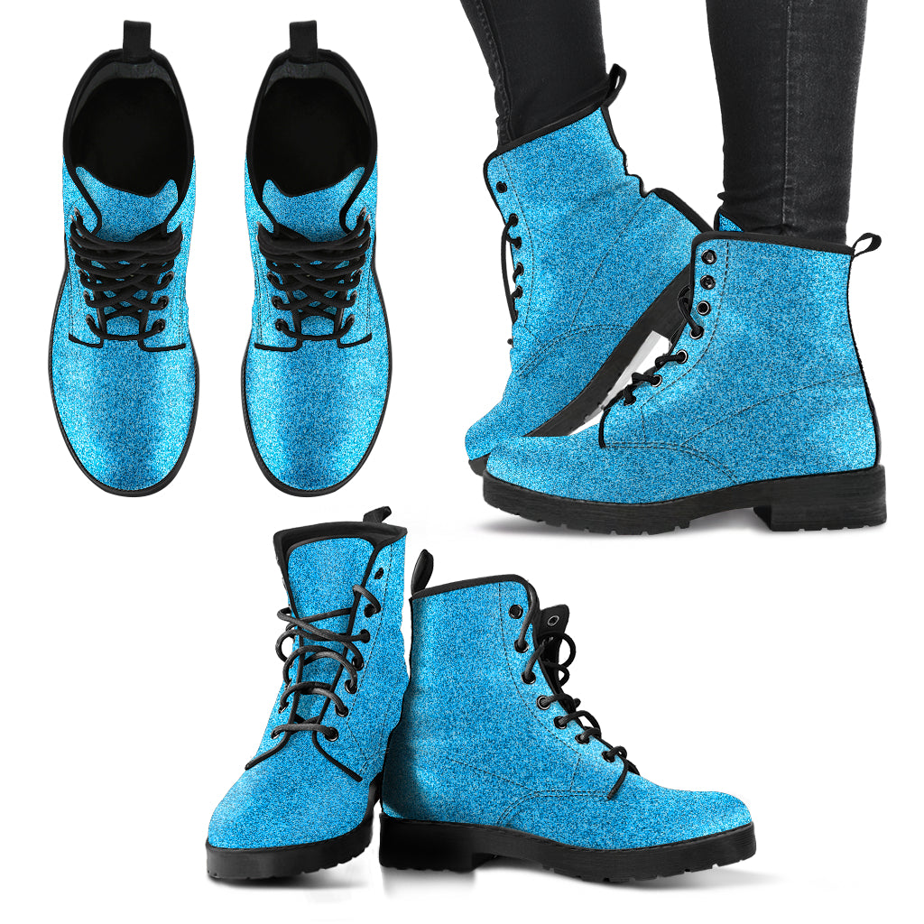 Metallic Effect in Printed Blue - Leather Boots for Women
