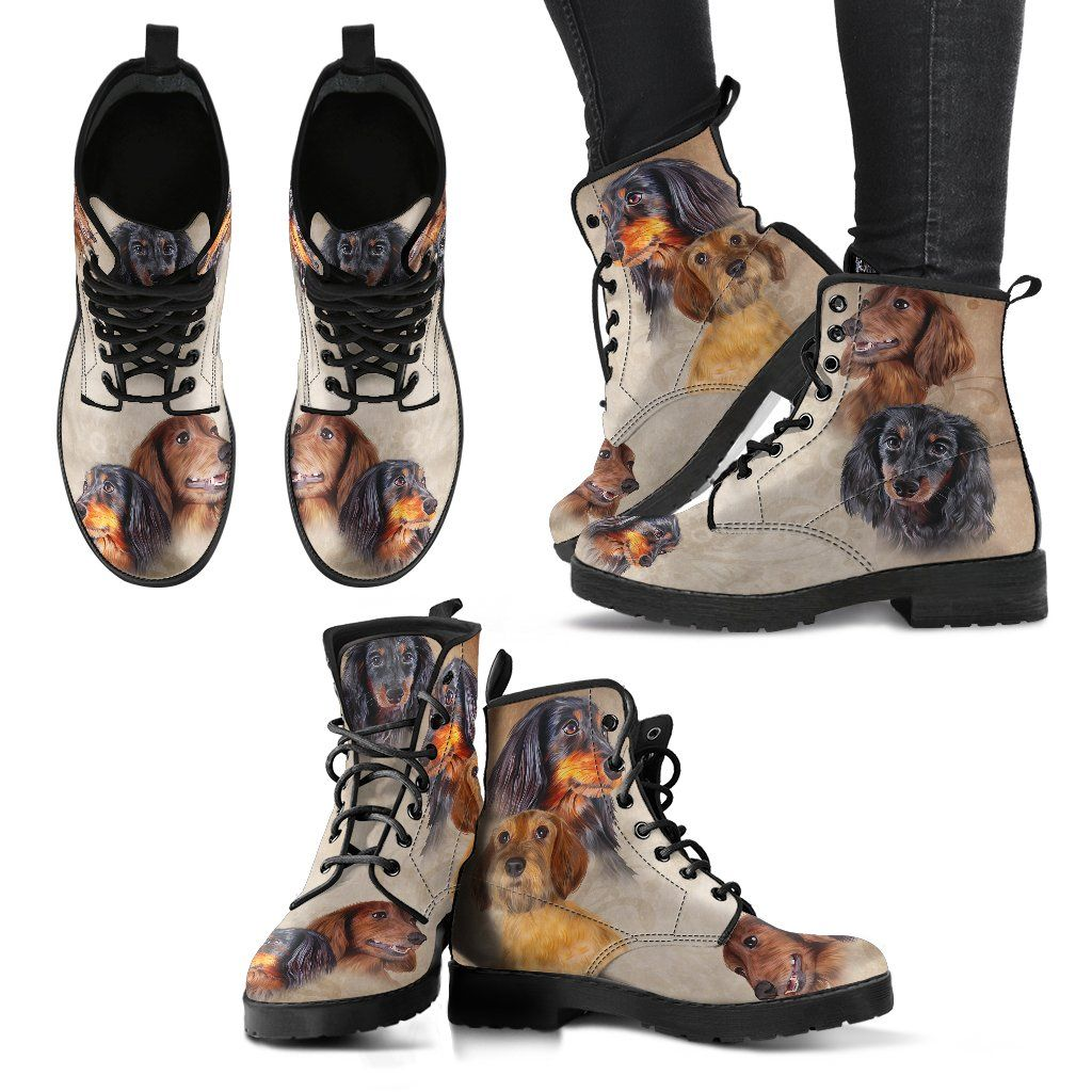 Dachshund 5 Print Faux Leather Boots