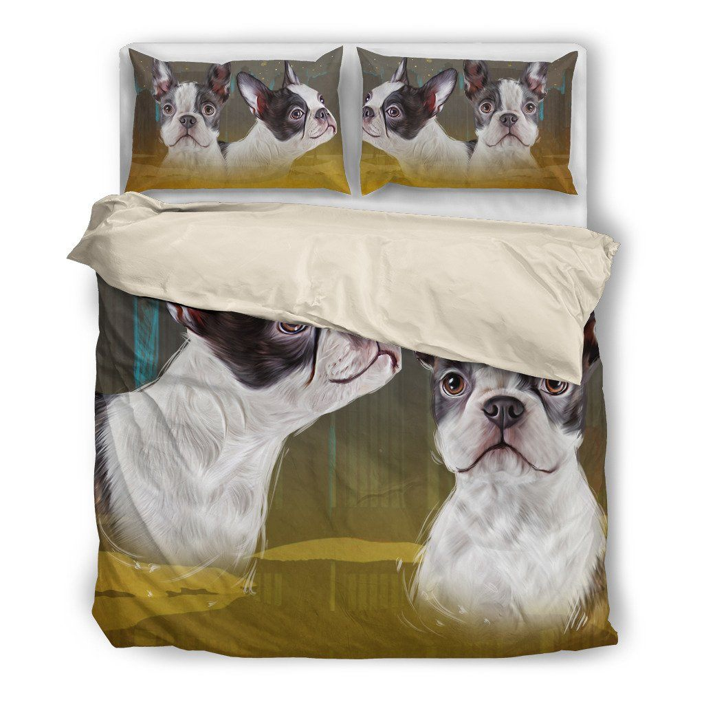 Boston Terrier 3 Dog Themed Bedding Sets (Includes Duvet Cover, Twin/Queen/King Size Bed Sheet & 2 Pillow Covers)