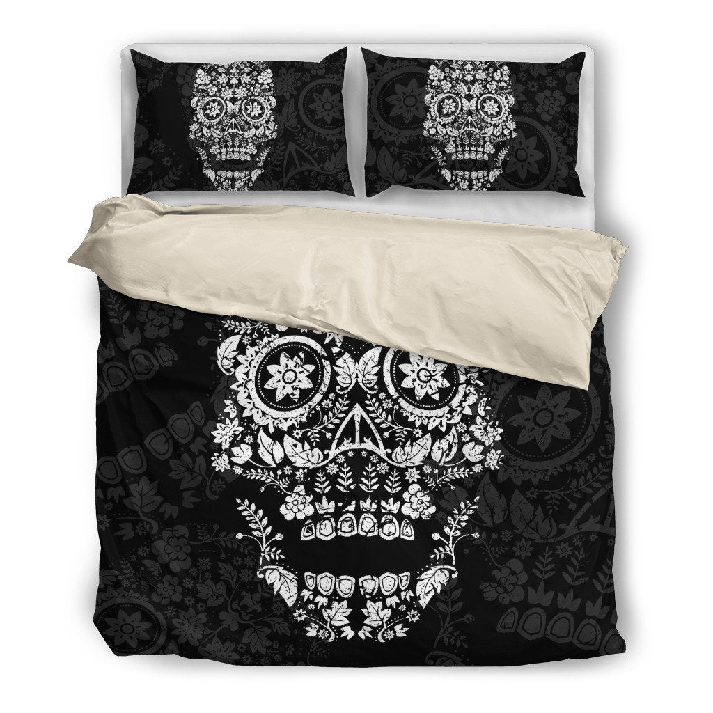 White Floral Skull Themed Bedding Sets (Includes Duvet Cover, Twin/Queen/King Size Bed Sheet & 2 Pillow Covers)