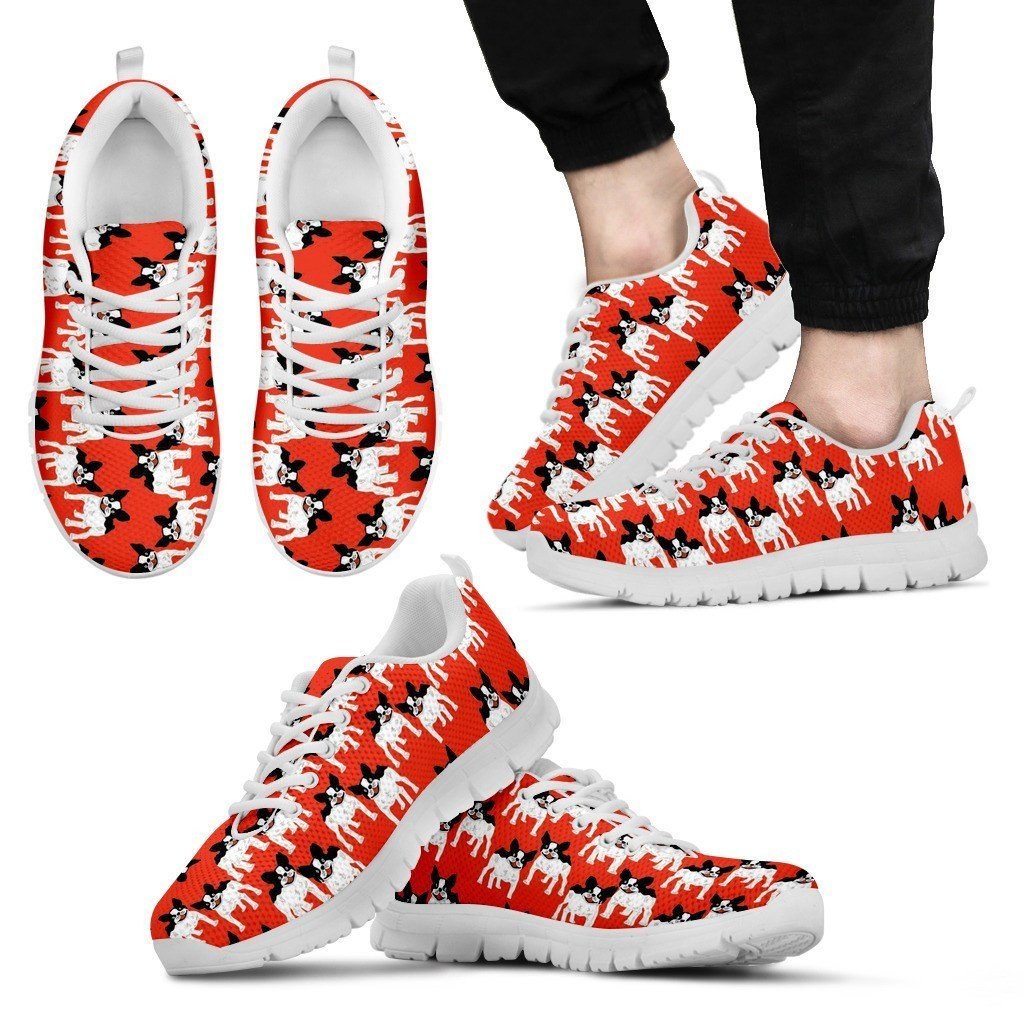 French Bulldog White Sole Print Sneakers Available in Men's and Women's Sizes