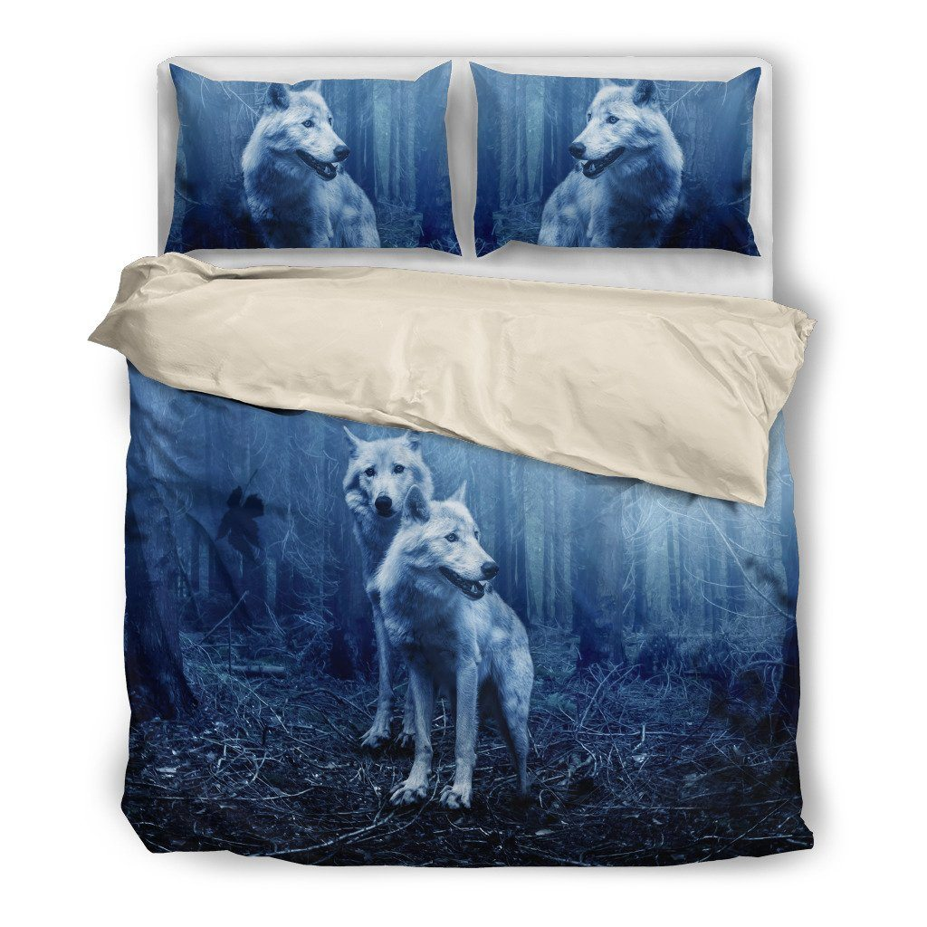 Wolf Text Themed Bedding Sets (Includes Duvet Cover, Twin/Queen/King Size Bed Sheet & 2 Pillow Covers)