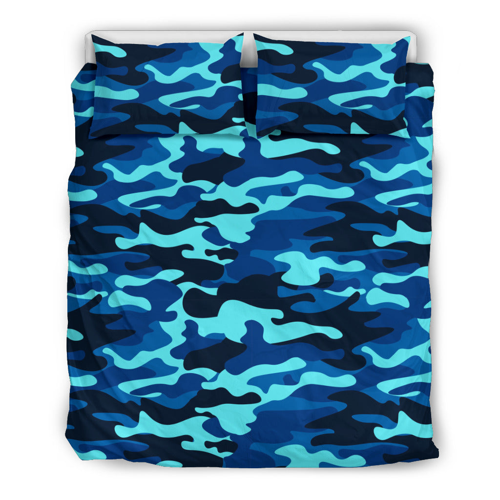 Camouflage Blue Themed Bedding Sets (Includes Duvet Cover, Twin/Queen/King Size Bed Sheet & 2 Pillow Covers)