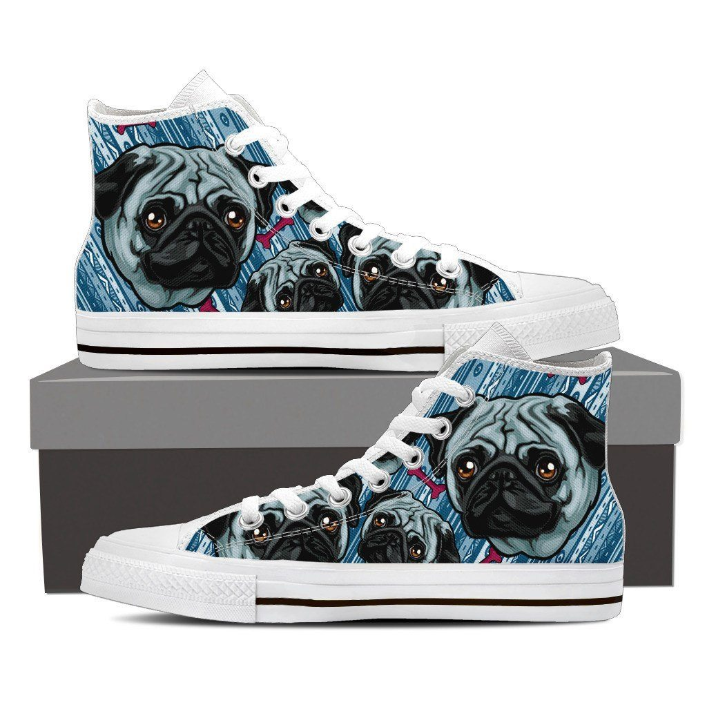 Happy Pug Print High Tops Shoes Available in Men's and Women's Sizes