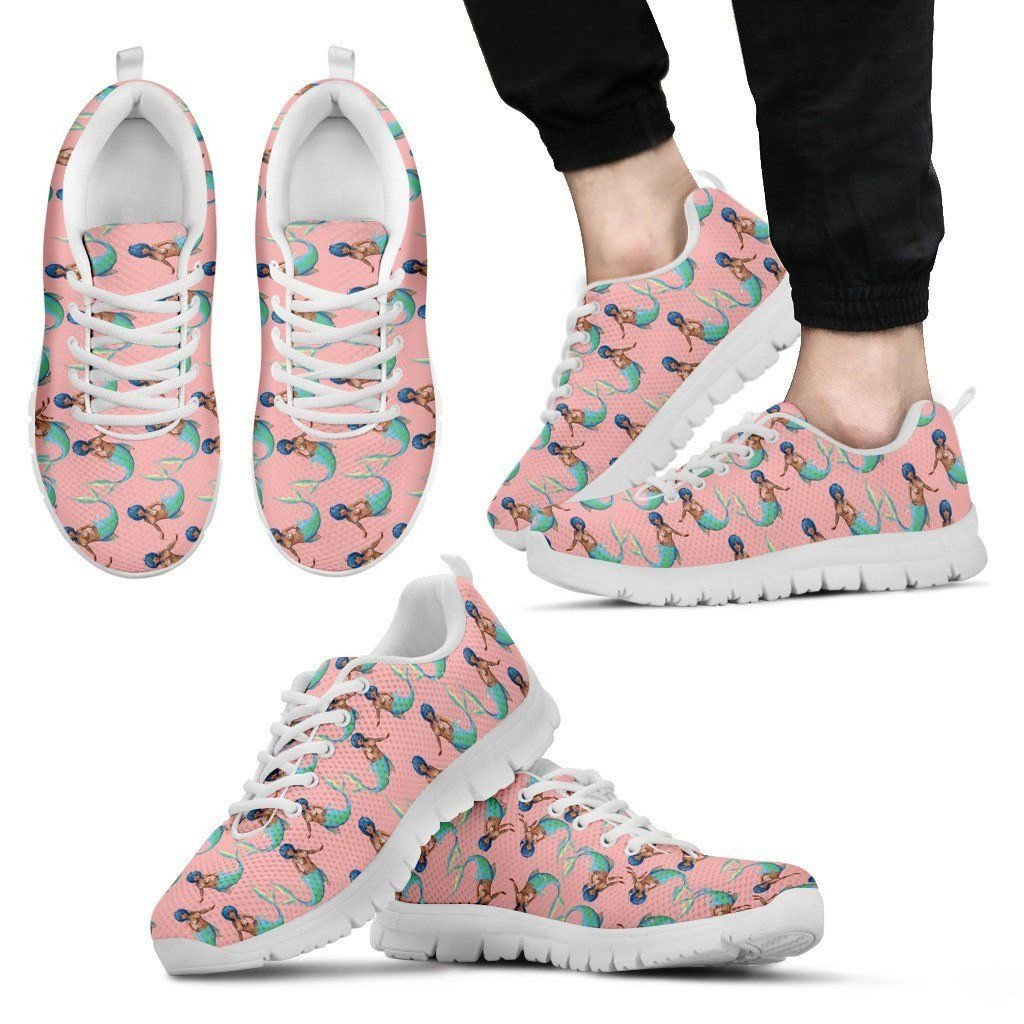 Mermaid White Sole Print Sneakers Available in Men's and Women's Sizes