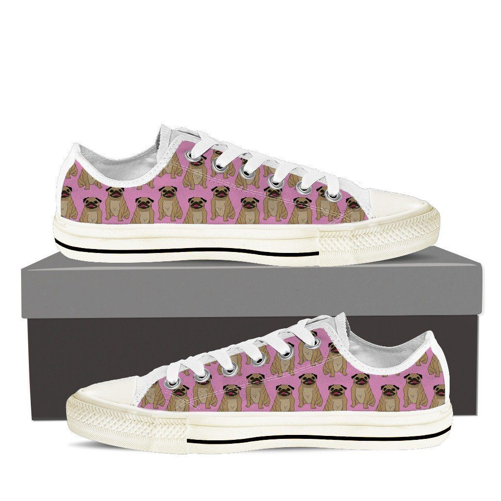 Men's Pug Lover 4 Print Low Tops Shoes