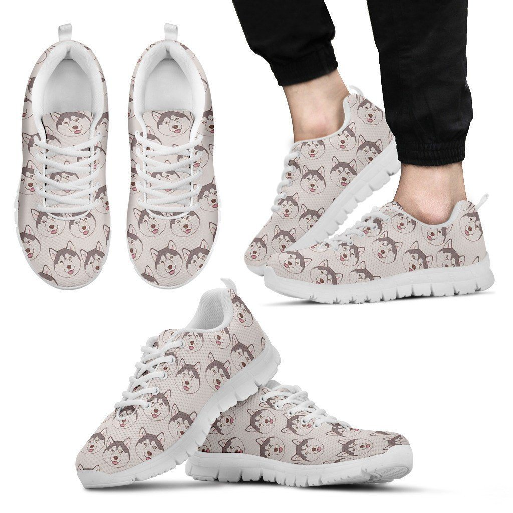 Husky Lover Print Sneakers Available in Men's and Women's Sizes
