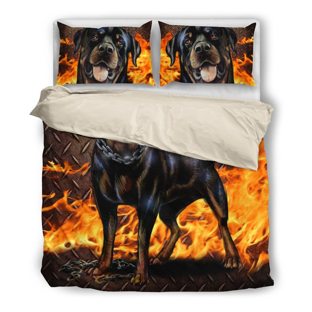 Rottweiler Lover 5 Dog Themed Bedding Sets (Includes Duvet Cover, Twin/Queen/King Size Bed Sheet & 2 Pillow Covers)