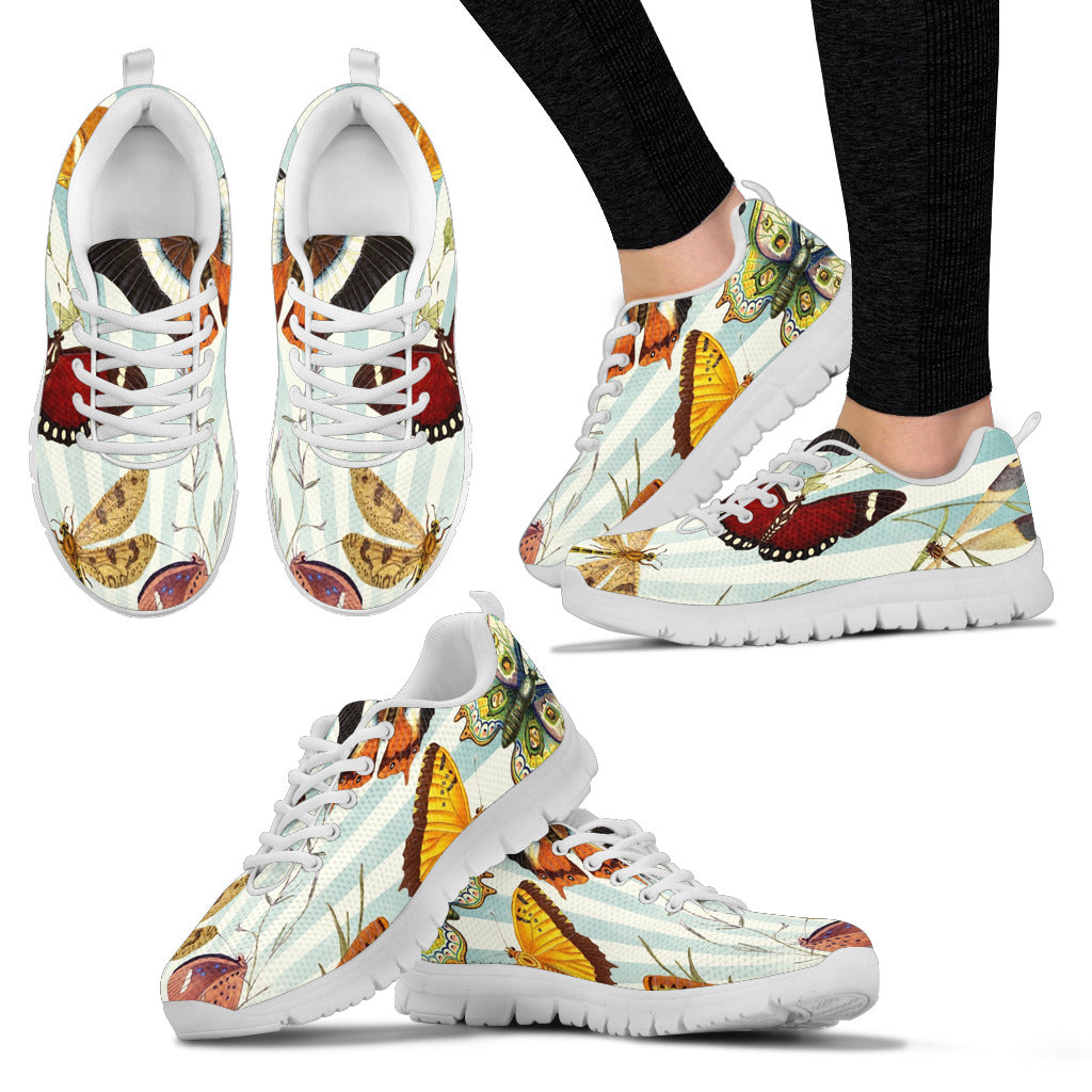 Women's Butterflies White Sole Print Sneakers