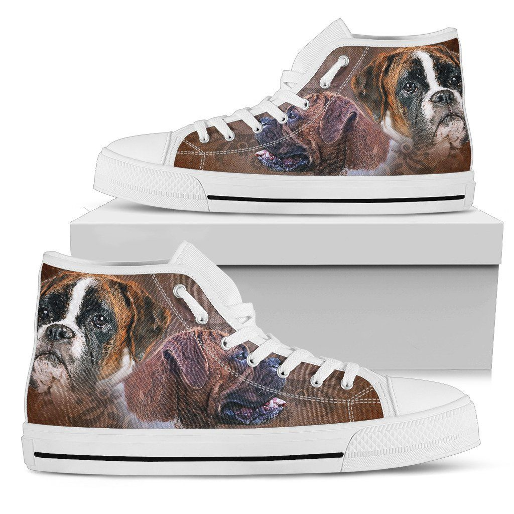 Boxer Love Print High Tops Shoes Available in Men's and Women's Sizes
