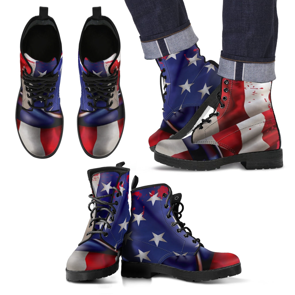 American Flag Print Boots for Men