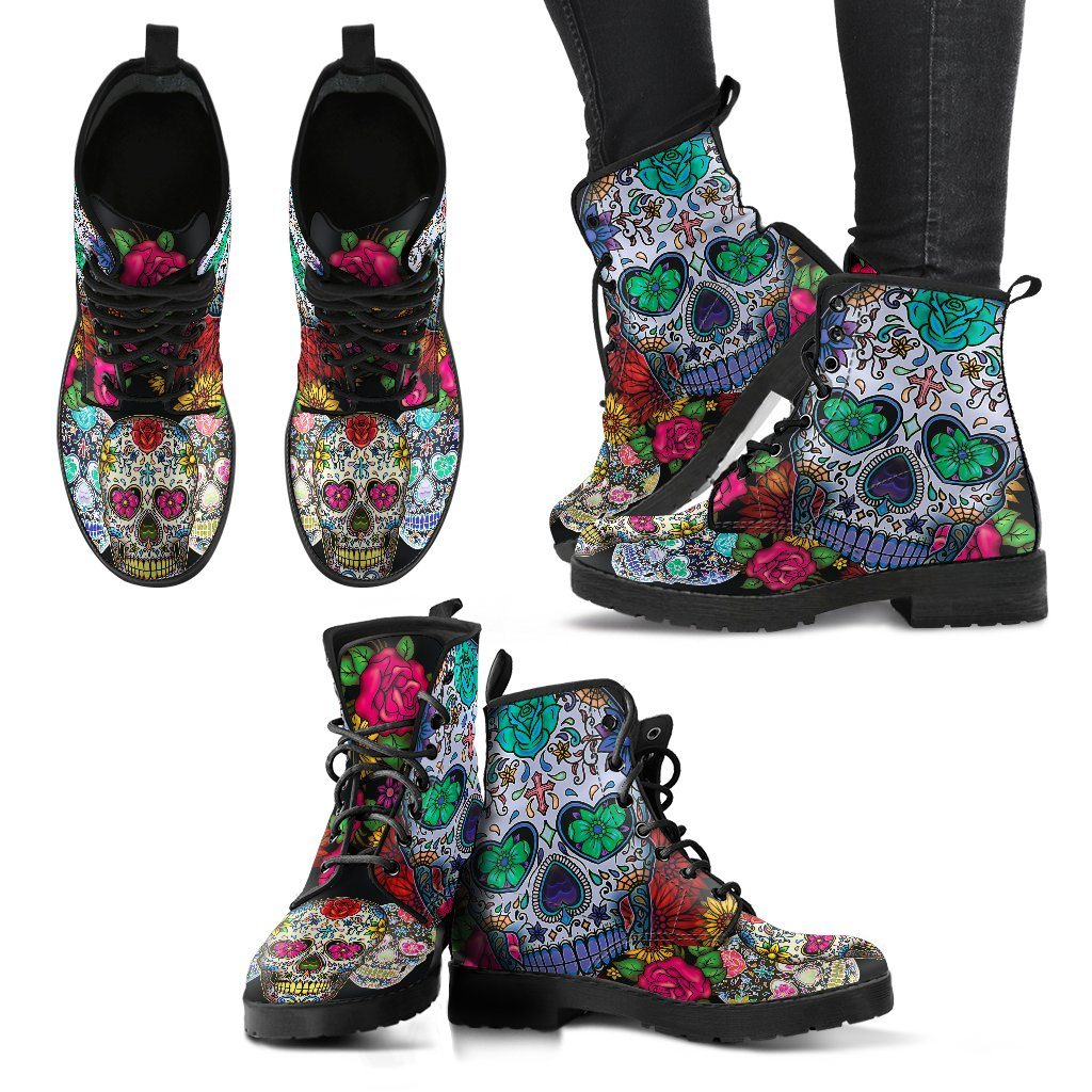 Sugar Skull Print Black Faux Leather Boots