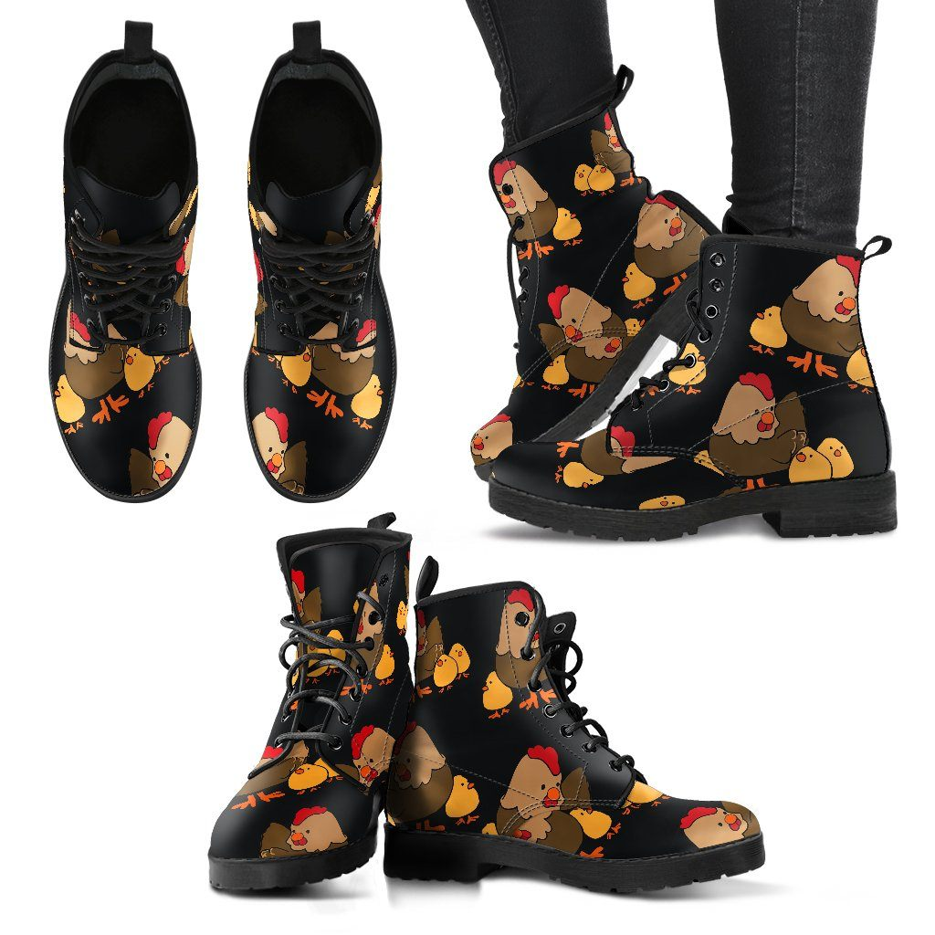 Chicken 2 Print Faux Leather Boots