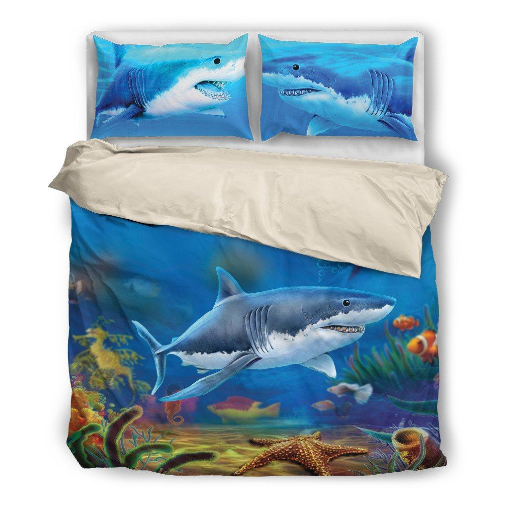 Shark 2 Aquatic Themed Bedding Sets (Includes Duvet Cover, Twin/Queen/King Size Bed Sheet & 2 Pillow Covers)