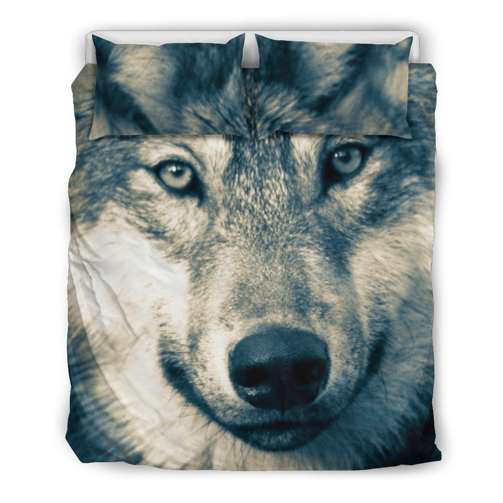 Wolf Head Beige Themed Bedding Sets (Includes Duvet Cover, Twin/Queen/King Size Bed Sheet & 2 Pillow Covers)