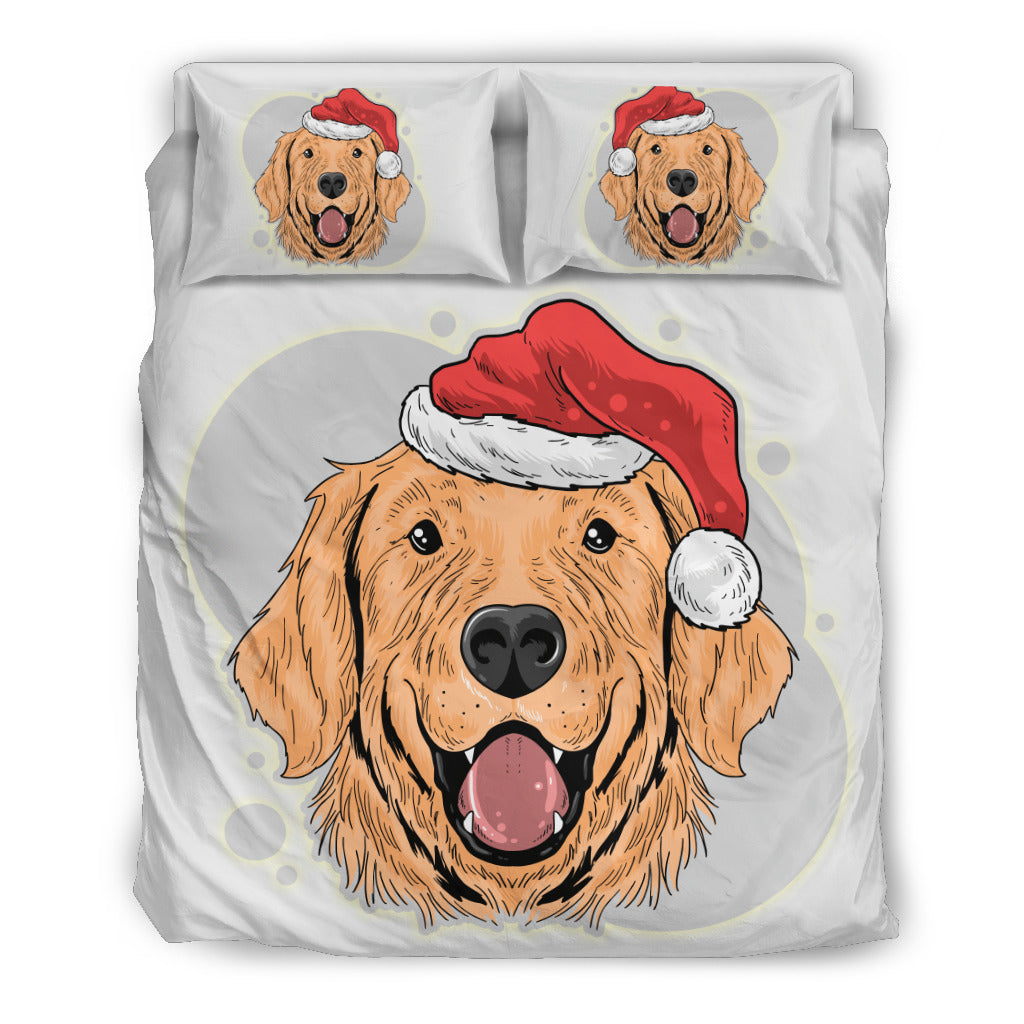 Have A Golden Christmas for Golden Retriever Lovers Dog Themed Bedding Sets (Includes Duvet Cover, Twin/Queen/King Size Bed Sheet & 2 Pillow Covers)