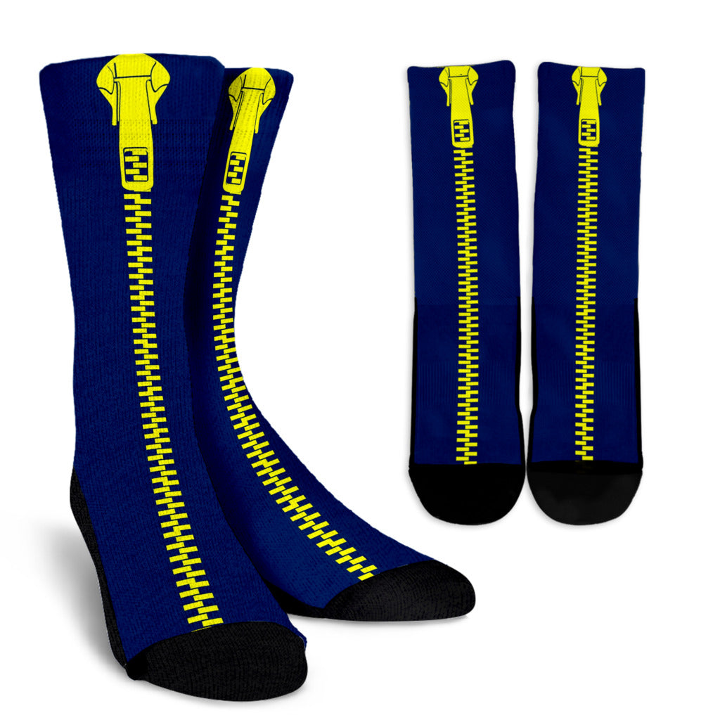 Yellow-Dark-Blue-001 Crew Socks